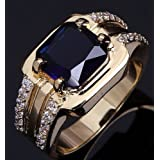 Size 7,8,9,10,11,12 Fashion Man Blue Sapphire Yellow Gold Filled Wedding Ring#by pimchanok shop (9)