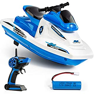 Force1 Wave Speeder RC Boat- Remote Control Boat for Pools and Lakes for Kids and Adults, Long Range Radio Controlled Motor Boat, (1) Mini RC Boat, USB Charging Cable, and 2.4GHz Remote Control (Blue)