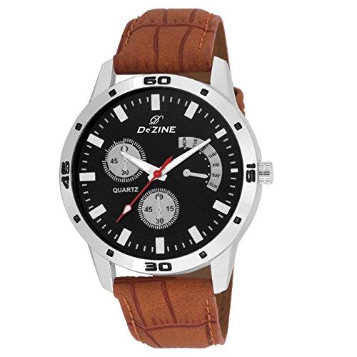 Dezine Chrono Pattern Black Dial Analog Watch-DZ-GR036-BLK-BRW