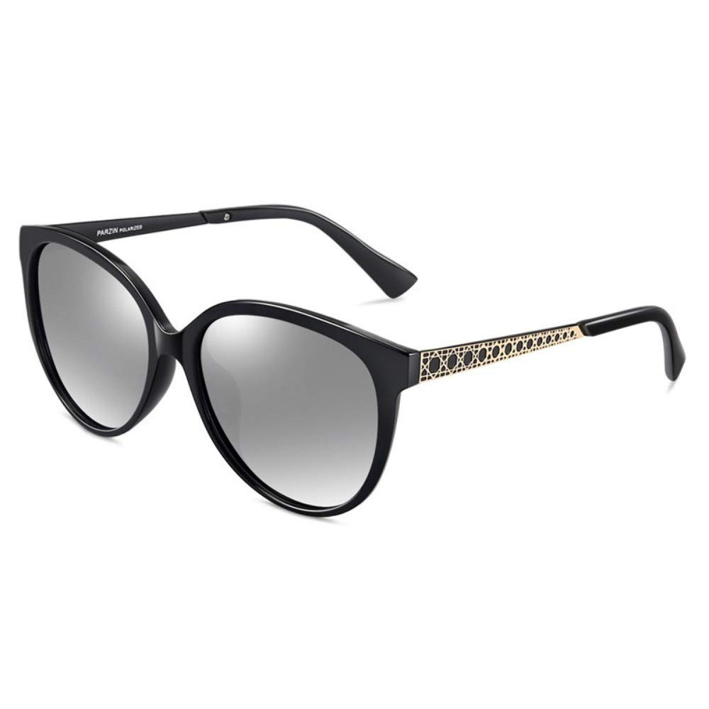 Polarized Sunglasses Ladies Elegant Fashion Big Frame Trend Sunglasses Driving Driving Mirror Black Frame Water Silver