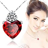 Gbell Red Garnet Heart Pendant 925 Silver Necklace