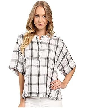 Jeans Women's Plaid Henley 3/4 Sleeve Shirt