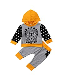 Annvivi Baby Boys Lion Outfit Long Sleeve Hoodie Sweatshirt Pants Animal Clothes Set