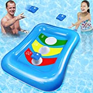 Camlinbo Pool Toys Bean Bag Toss Games Inflatable Floating Cornhole Board Set Toss Toys for Kids Adult Water G