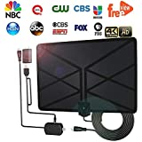 [2018Upgraded] HDTV Antenna Amplified Digital HD TV Antenna 60-100 Mile Range 4K 1080P Indoor Powerful HDTV Amplifier Signal Booster VHF UHF Freeview Television Local Channels W/Detachable Sign