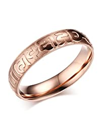 """Mealguet Jewelry 4mm Women's Rose Gold The six syllable Mantra """"Om Mani Padme Hum"""" Ring"""