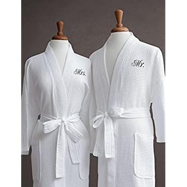 Mr. & Mrs. Couple's Waffle Weave Bathrobe Set - 100% Egyptian Cotton - Unisex/One Size Fits Most - Spa Robe, Luxurious, Soft, Plush, Elegant Script Embroidery - Perfect Wedding Gift - Luxor Linens - Mr. & Mrs.