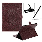 Wallet Case for iPad 2,Flip Pu Leather Case for iPad 4,Herzzer Classic Elegant [Brown Mandala Flower Pattern] Stand Function Magnetic Smart Leather Case with Soft Inner for iPad 2/3/4 + 1 x Free Black Cellphone Kickstand + 1 x Free Black Stylus Pen