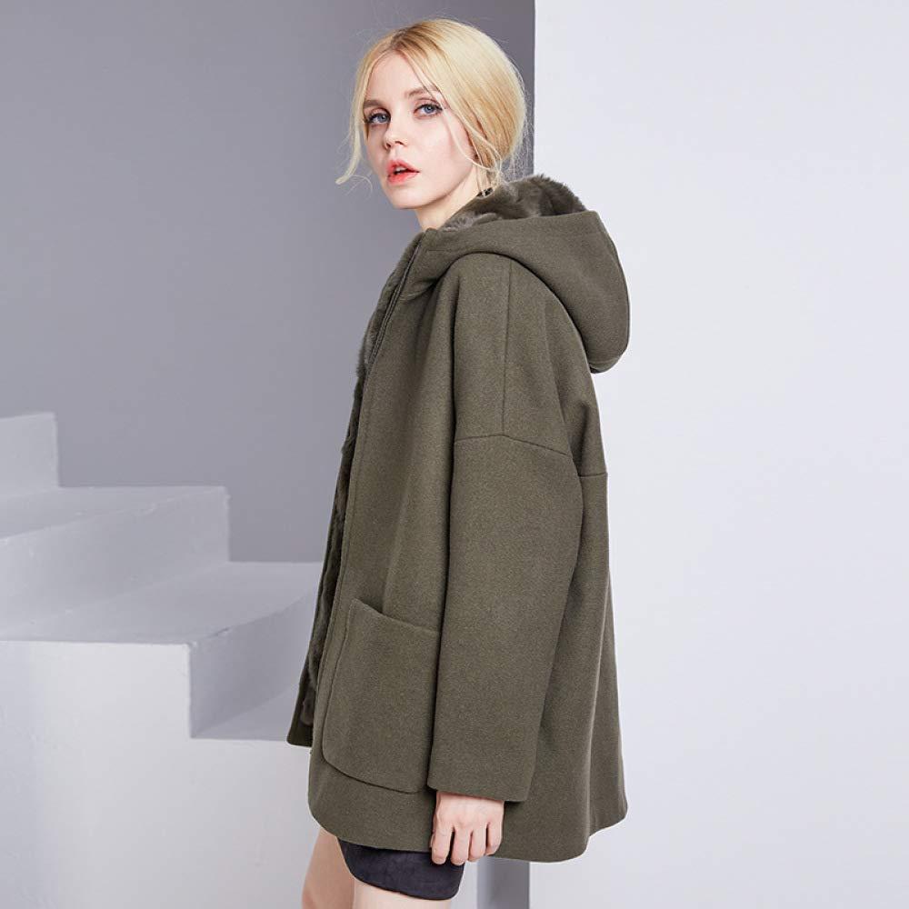 Vert Taille unique Doubleure Hiver Capuche Laine épaississeHommest Moyen Manteau Long Manteau Cadeau