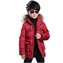 2017 Fashion Boy's Winter Cotton Thick Hooded Parka Outwear Coat with Faux Fur Trim