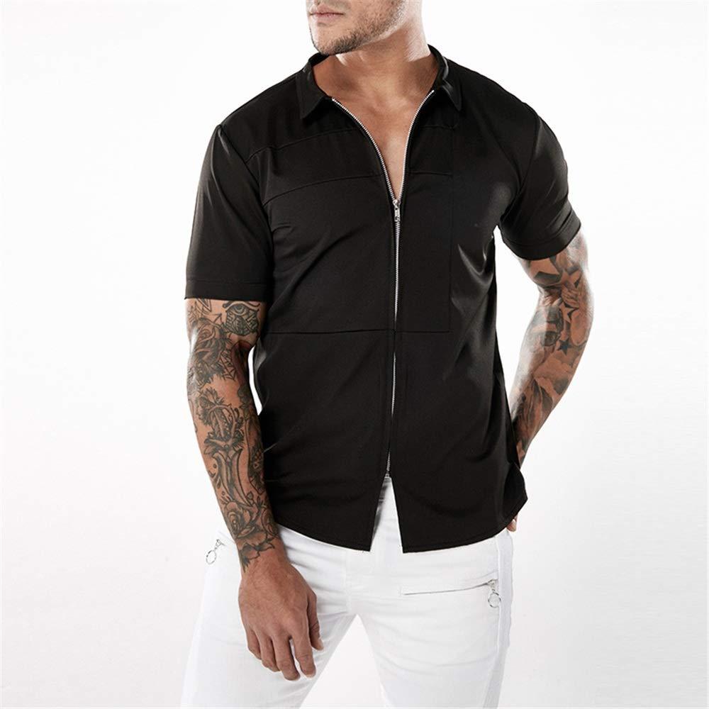 Black Men's Shirts Fashion Leisure Men's Zipper Closure Slim Fit Lapel Collar Short Sleeve Button Down Shirt Slim Fit Breathable (color   Black, Size   S)