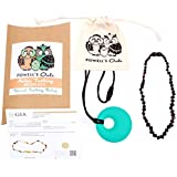 Baltic Amber Teething Necklace Gift Set + FREE Silicone Teething Pendant ($15 Value) Handcrafted, 100% USA Lab-Tested Authentic Amber - Teething Pain Relief (Unisex - Polished Cherry - 12.5 Inches)