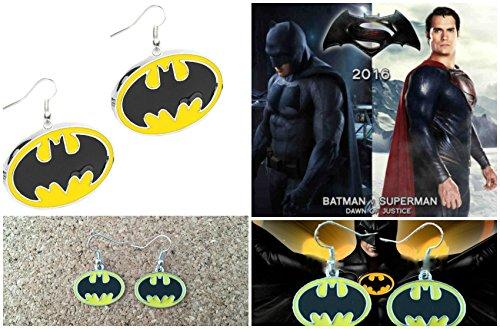 DC+Comics Products : DC Comics Silver-tone Batman Color Logo Movie/TV Theme Charm Dangle Earrings W/Gift Box