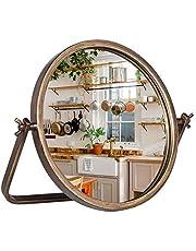 "Geloo Vanity Makeup Mirror Decor-Vintage Desk Table Mirrors 360 Adjustable Rotation,Metal Framed 10"" Small Standing Mirror for Bedroom,Tabletop,Office,Antique,Dresser,Countertop"