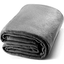 Twin Polar-Fleece Thermal Blanket Grey - Extra Soft Brush Fabric, Super Warm Bed Blanket, Lightweight Couch Blanket, Easy Care - by Utopia Bedding