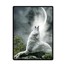 """wolf and moon Fleece Blanket 58""""x 80"""" (Large)"""