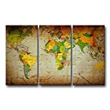 3 piece Brown Wall Art Painting Word Map Prints On Canvas The Picture Map Pictures Oil For Home Modern Decoration Print Decor
