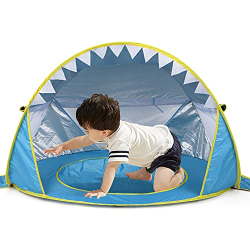 Free Swimming Baby Pop Up Baby Beach Tent with Pool,Portable Shark Sun Shelter Tent with UPF UV 50+ Protection for Toddler Aged 3-72 Months (Blue)