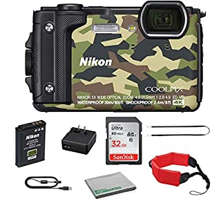 Nikon COOLPIX W300 Rugged Waterproof Underwater Digital Camera Bundle Kit with 32GB Memory Card + Floating Strap + More (Camouflage)