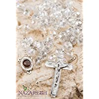 Catholic Clear 10mm Crystal Beads Rosary Holy Soil Medal & Silver Crucifix
