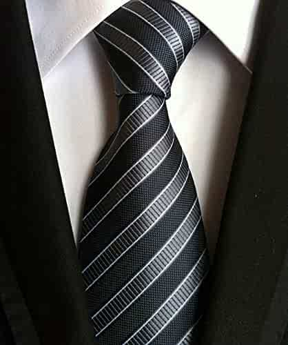 be5f0773d594 Men's Classic Checks Light Blue Jacquard Woven Silk Tie Necktie + Gift Box