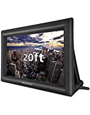 20 Feet Inflatable Outdoor and Indoor Theater Projector Screen - Includes Inflation Fan, Tie-Downs and Storage Bag - Only Supports Front Projection (20FT)