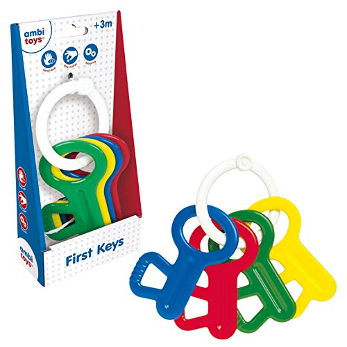Galt Ambi Toys, First Keys, Baby Rattle & Teether Toy, Multicolor