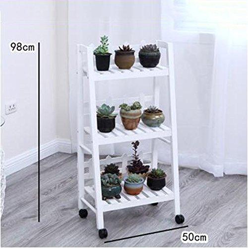 Espositore Stand di fiori in legno massello Stand mobile di fiori in multistrato bianco ( colore   C )