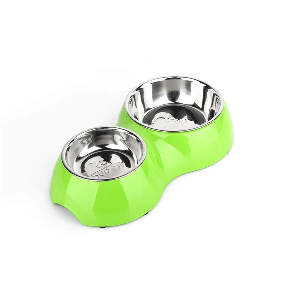 M SLH Stainless Steel Dog Bowl Eat Drink Dual-use Dog Bowl Double Bowl Dog Food Bowl Pet Dog Supplies (Size   M)