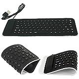HDE Portable USB Mini Flexible Rollup Waterproof Silicone QWERTY Keyboard
