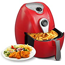 KUPPET Y300 4.42Quarts 1300W Air fryer For Smokeless Low-Fat Healthy Food, 80% Oil Less, Capacity with Timer and Temperature Control, Rapid Air Circulation System and Detachable Basket Handles, Red