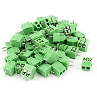 uxcell 50pcs 2 Poles 3.5mm Pitch PCB Screw Terminal Block Connector