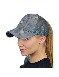 FCX-Fashion Ponytail Baseball Cap Messy High Bun Adjustable Mesh Trucker Sun Hat