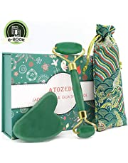 Jade Roller for Face - Gua Sha Tools - 100% Real Jade Stone Face Massager Set - Anti Aging Wrinkle Puffiness Facial Skin Jade Rolling Treatment Therapy - Storage Pouch and E-book Included