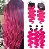 Ombre Pink Bundles with Closure Black to Pink Hair