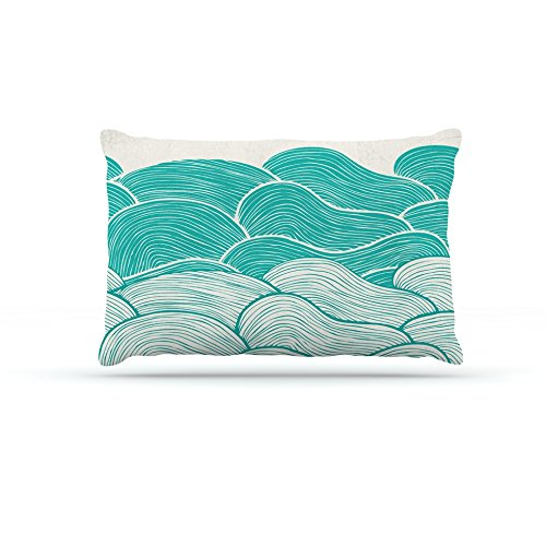 Kess InHouse Pom Graphic Design The Calm and Stormy Seas  Fleece Dog Bed, 50 by 60 , Green Teal