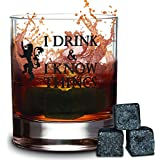 I Drink and I Know Things Whiskey Glass + FREE 3 Whiskey Stones - Made In Casterly Rock – Game Of Thrones Inspired – Funny Novelty - With White Gifts box included - by Desired Cart