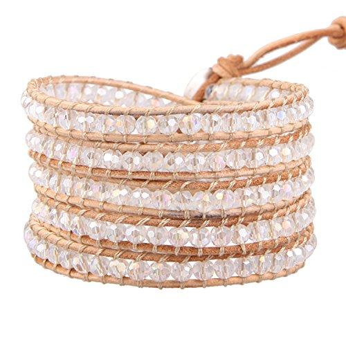 KELITCH Women Lavender Crystal Beads 5 Wrap Bracelet Handmade Exclusive Women Gifts (Beige 0)