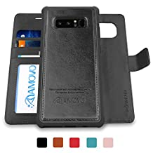 AMOVO Galaxy Note 8 Case [2 in 1], Samsung Galaxy Note 8 Wallet Case [Detachable Wallet Folio] [Premium Vegan Leather] Samsung Note 8 Flip Cover with Gift Box Package (Black)