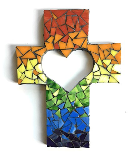 Rainbow Heart Cutout Wall Cross 9 inch X 6 inch Handcrafted Mosaic