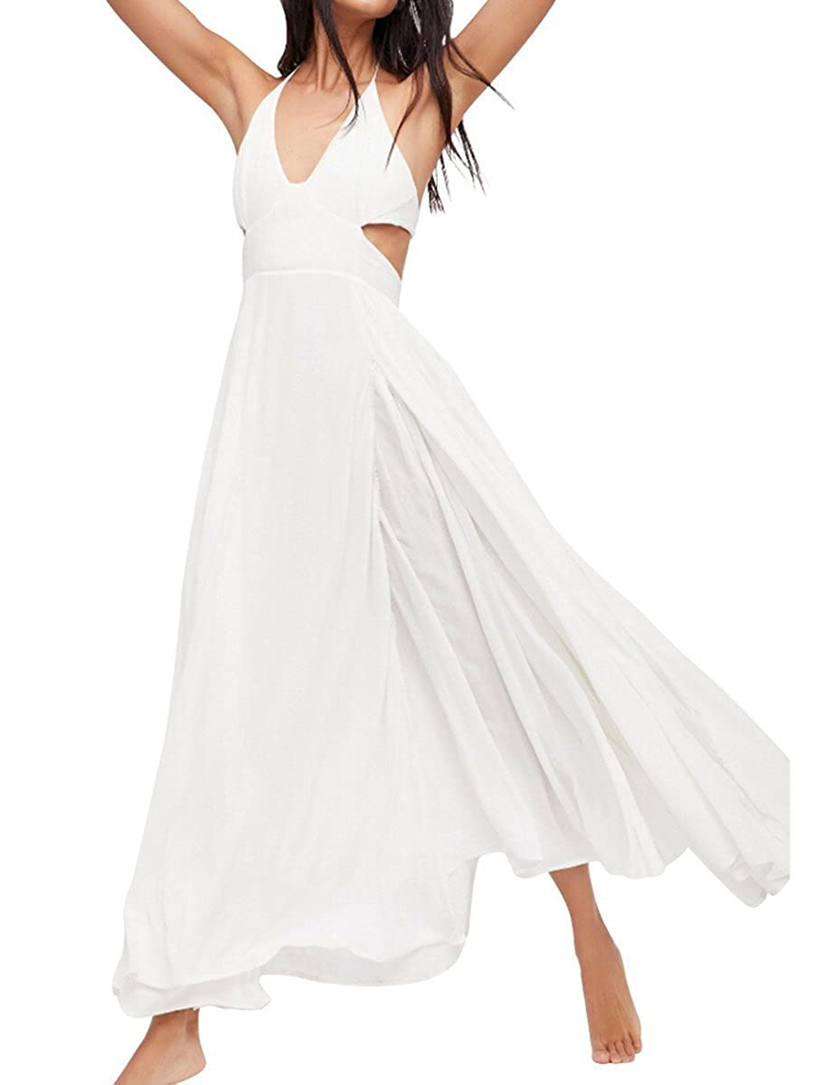 White FashionLee Women Halter Open Back CutOuts Evening Party Maxi Dress