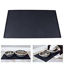 "Pet Feeding Mats - Cat & Dog | Flexible Food Mat, Premium Silicone Food Safe Bowl Tray (24""X 16"", Black)"
