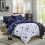 Kids Cotton Blend Star Twin Size Complete Bed and Sheet Set Bed Pillowcase Comforters Set (TWIN01)