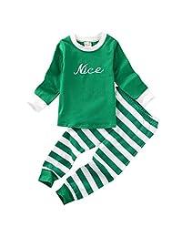 Kids Boys Girls Clothes 2 Piece Pajamas Nightwear Stripes Pants Top Set Sleepwear