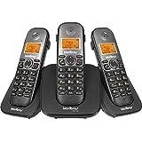 Telefone sem Fio Digital com Dois Ramais Adicionais, Intelbras, TS 5123, Preto, Pacote de 3
