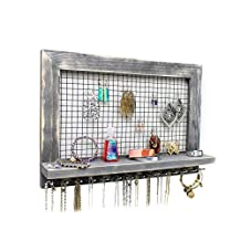 Extra Large Rustic Wood Jewelry Organizer for Earrings / Necklaces / Bracelets / Accessories (Large Rustic - Rods)