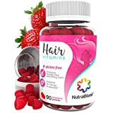 Hair Loss Vitamin Deficiency NutraBlast Biotin 5000 mcg Enhanced with Coconut Oil - Hair, Skin and Nails Vitamins - Made in USA (90 Strawberry Gummies)