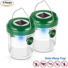 Elindio Wasp Trap Catcher, Life Outdoor Solar Powered Fly Trap with Ultraviolet LED Light Waterproof for Trapping Bees, Wasps, Hornets, Yellow Jackets, Bugs in Home Garden - Reusable(2 pack)