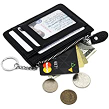 Zhoma RFID Blocking Genuine Leather Wallet - Credit Card Holder with Key Ring and ID Window
