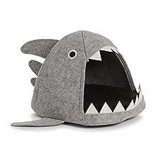 Canasta de gato Zeller tiburón, fieltro, gris, 45 x 38 x 34 cm